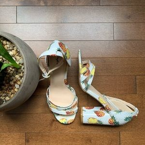 QUPID - Pineapple Print Strappy Heels